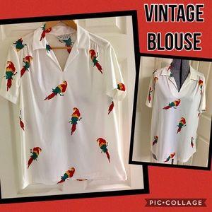 VINTAGE parrot blouse